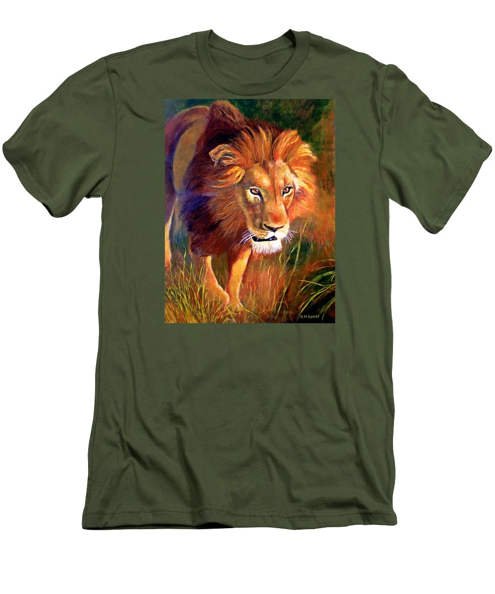Lion Men's T-Shirt (Athletic Fit) featuring the painting Lion At Sunset by Michael Durst