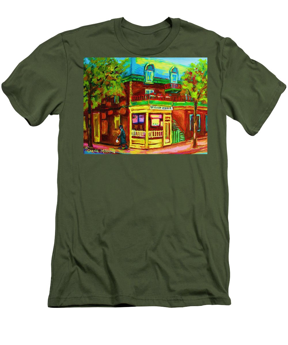 Montreal Streetscenes Men's T-Shirt (Athletic Fit) featuring the painting Little Shop On The Corner by Carole Spandau