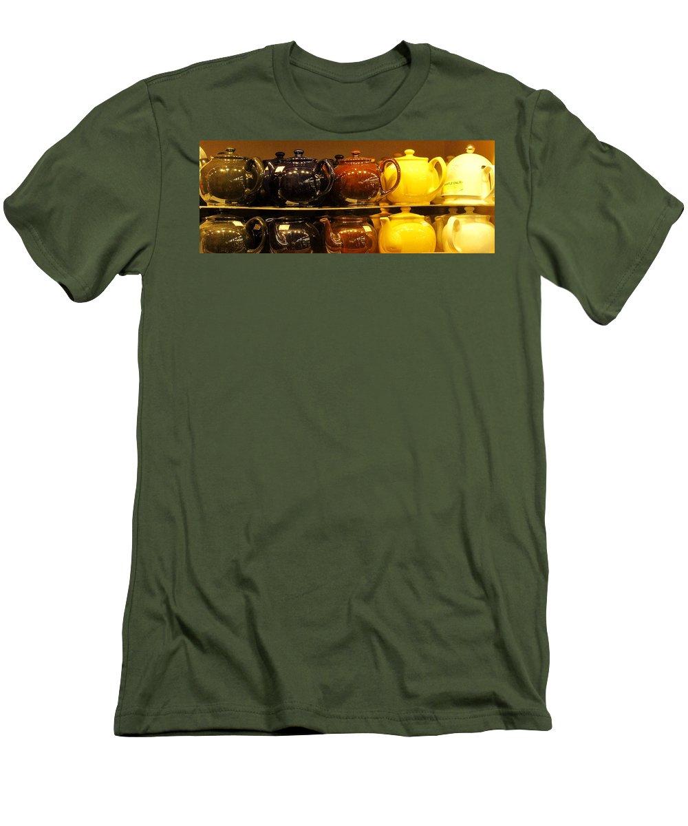 Teapots Men's T-Shirt (Athletic Fit) featuring the photograph Little Teapots by Ian MacDonald