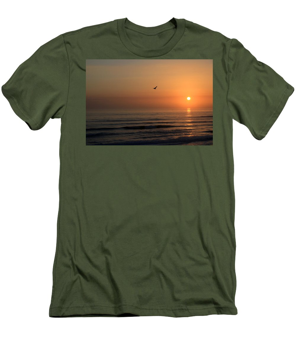 Bird Fly Flight Gull Alone Sun Sunrise Sky Ocean Wave Reflection Nature Golden Gold Men's T-Shirt (Athletic Fit) featuring the photograph Lonely Flight by Andrei Shliakhau