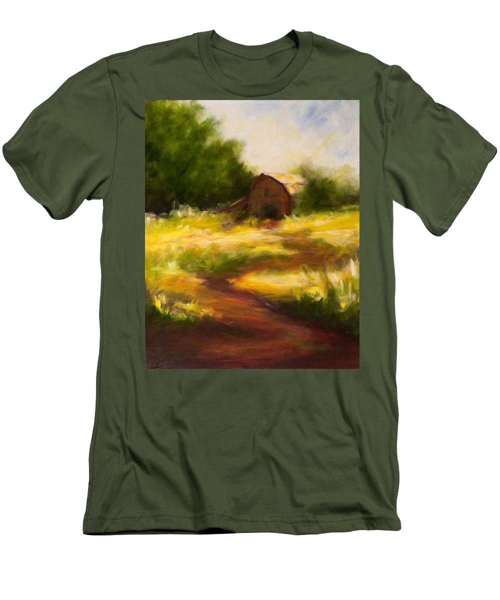 Landscape Men's T-Shirt (Athletic Fit) featuring the painting Long Road Home by Shannon Grissom