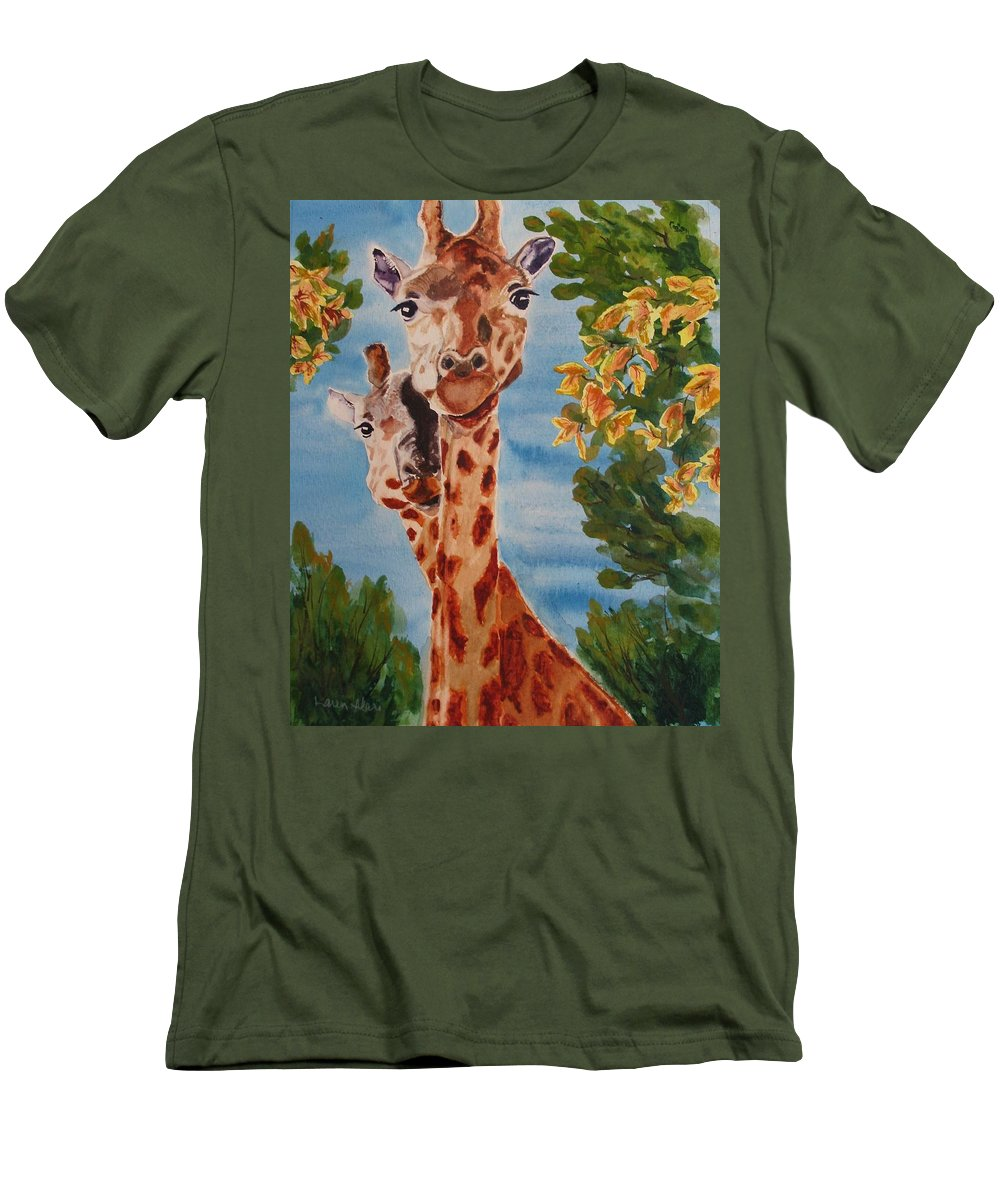 Giraffes Men's T-Shirt (Athletic Fit) featuring the painting Lookin Back by Karen Ilari