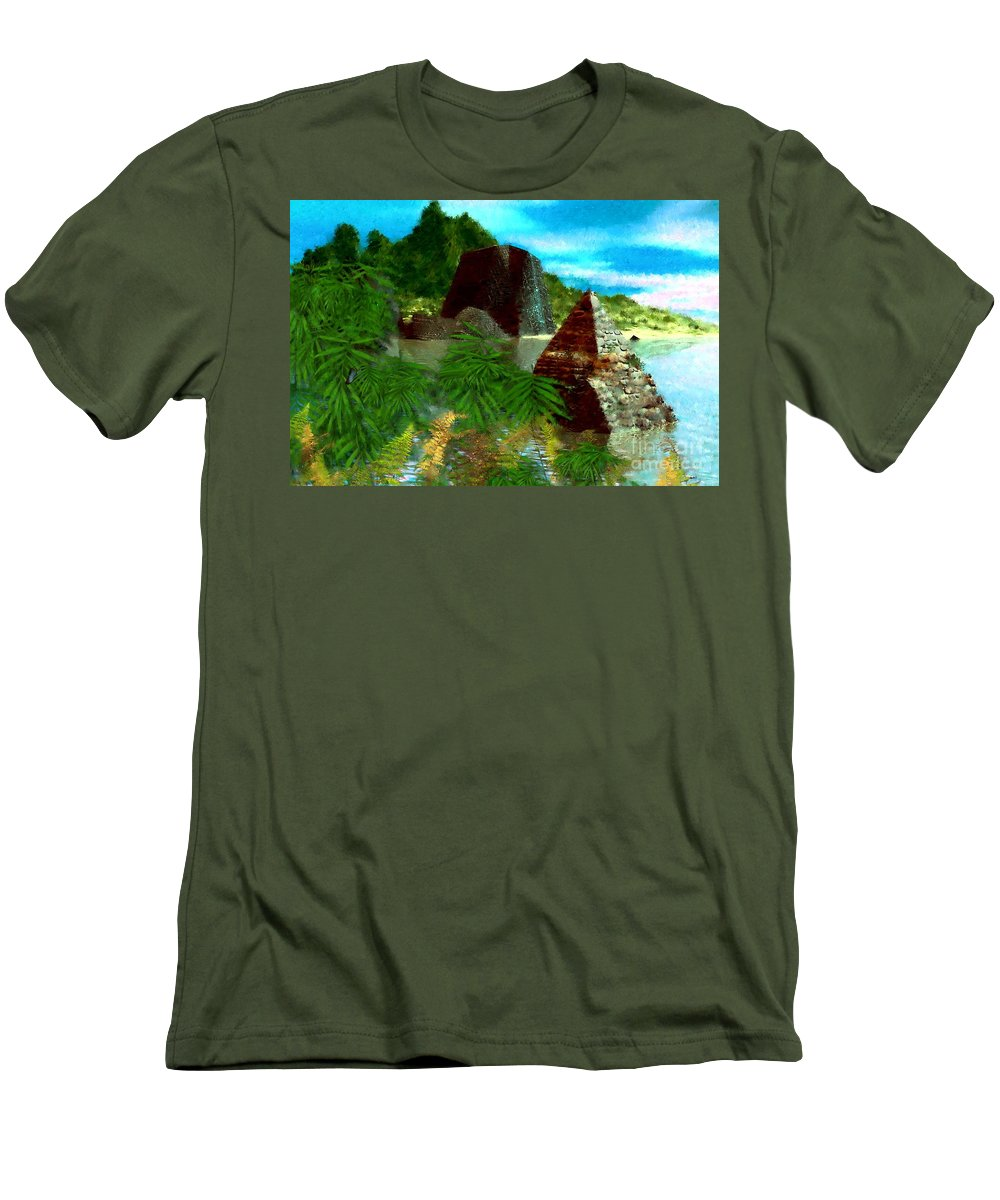 Digital Fantasy Painting Men's T-Shirt (Athletic Fit) featuring the digital art Lost City by David Lane