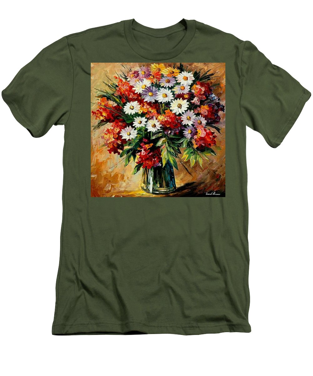Still Life Men's T-Shirt (Athletic Fit) featuring the painting Lovely Bouquet by Leonid Afremov