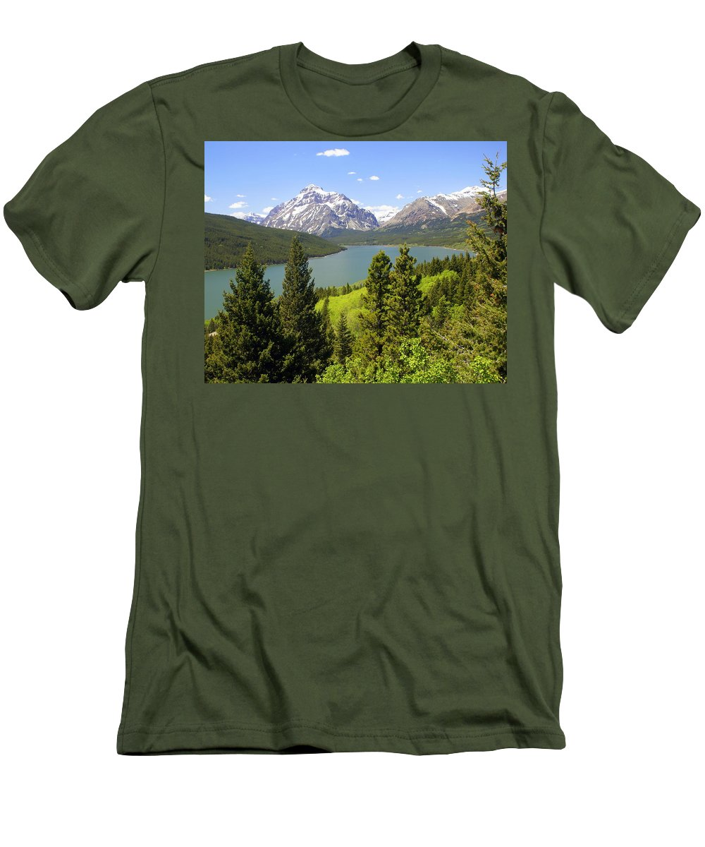 Two Medicine Lake Men's T-Shirt (Athletic Fit) featuring the photograph Lower Two Medicine Lake by Marty Koch