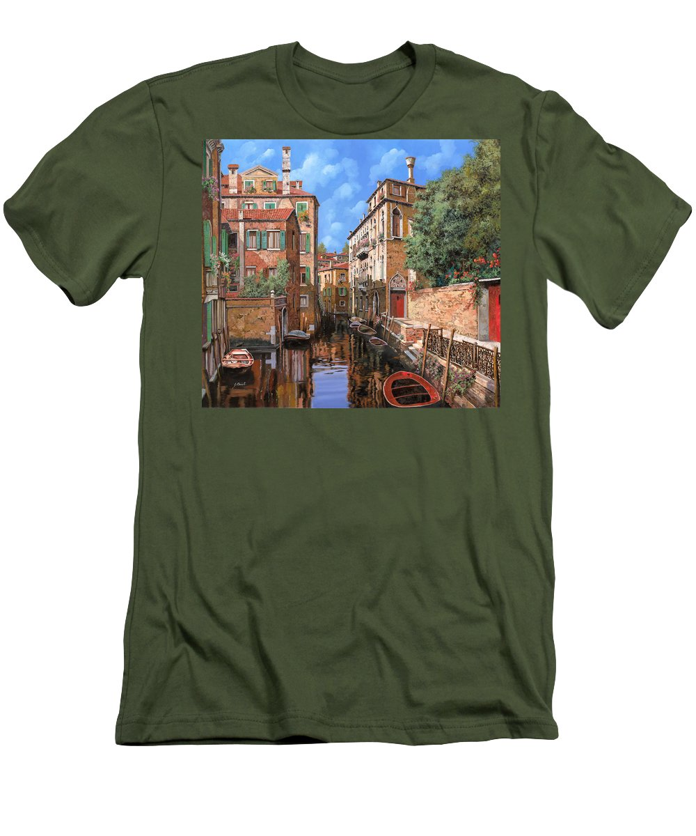 Venice Men's T-Shirt (Athletic Fit) featuring the painting Luci A Venezia by Guido Borelli