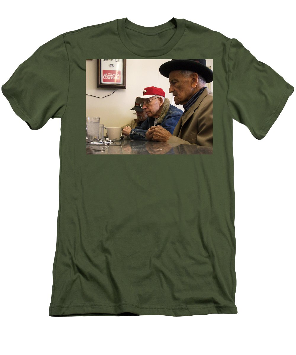 Diner Men's T-Shirt (Athletic Fit) featuring the photograph Lunch Counter Boys by Tim Nyberg