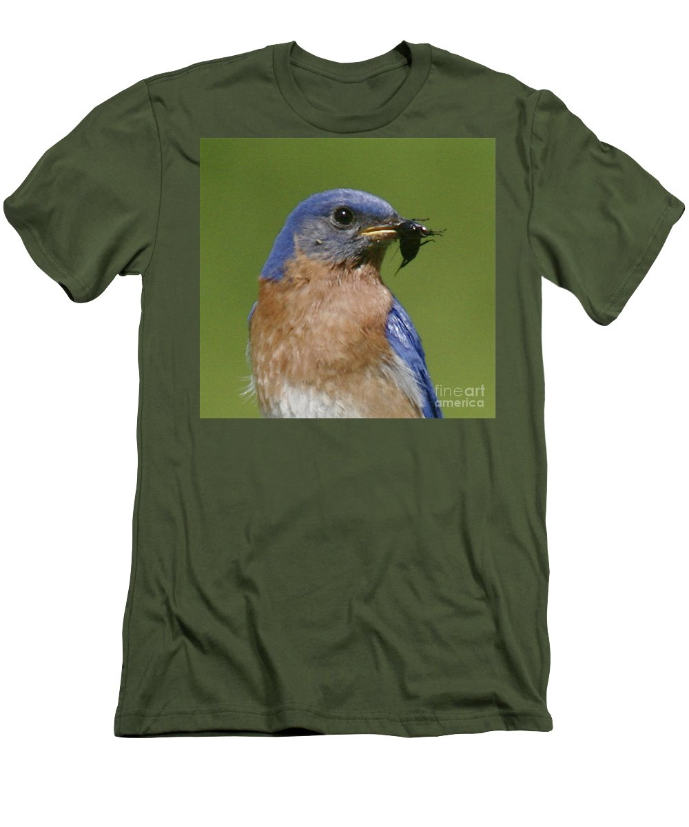 Blue Bird Men's T-Shirt (Athletic Fit) featuring the photograph Lunch Time Blues by Robert Pearson
