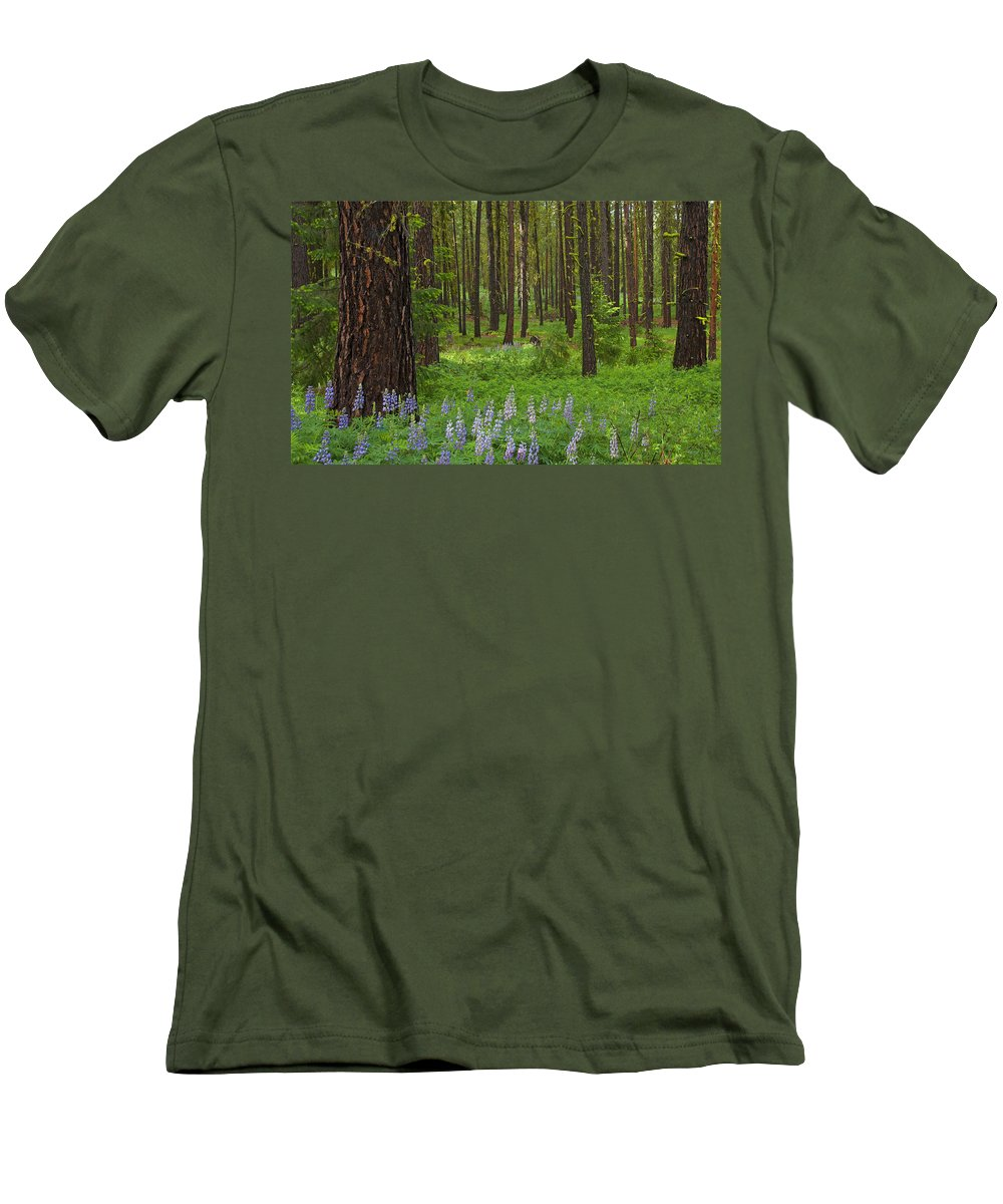 Forest Men's T-Shirt (Athletic Fit) featuring the photograph Lupine Carpet by Mike Dawson