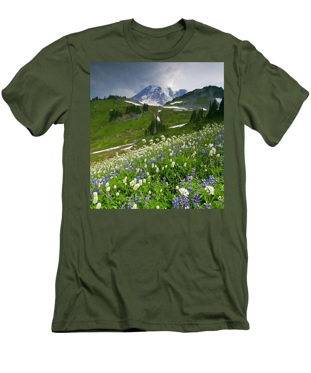 Rainier Men's T-Shirt (Athletic Fit) featuring the photograph Lupine Storm by Mike Dawson