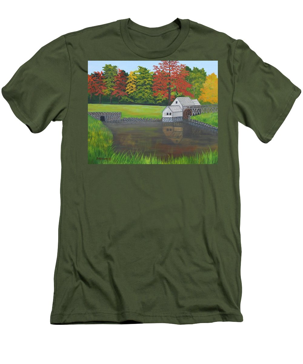 Landscape Men's T-Shirt (Athletic Fit) featuring the painting Mabry Grist Mill by Ruth Housley