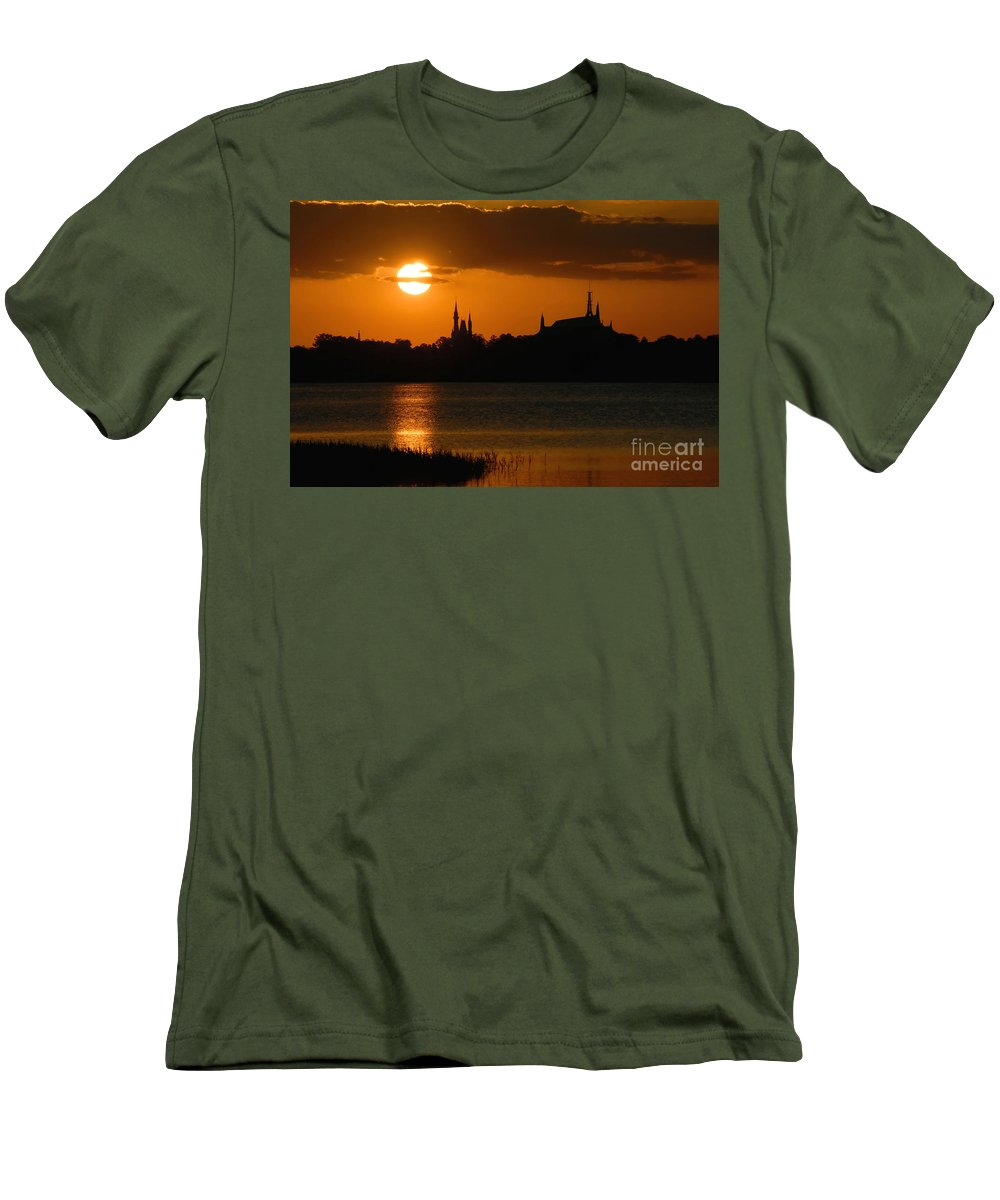 Disney World Men's T-Shirt (Athletic Fit) featuring the photograph Magic Kingdom Sunset by David Lee Thompson