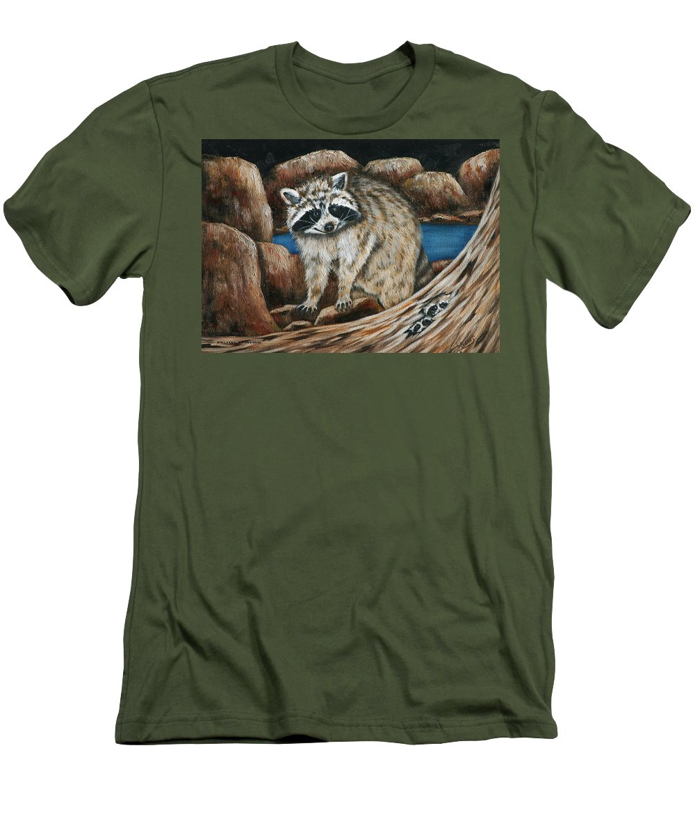 Racoon Men's T-Shirt (Athletic Fit) featuring the painting Mama Racoon by Ruth Bares