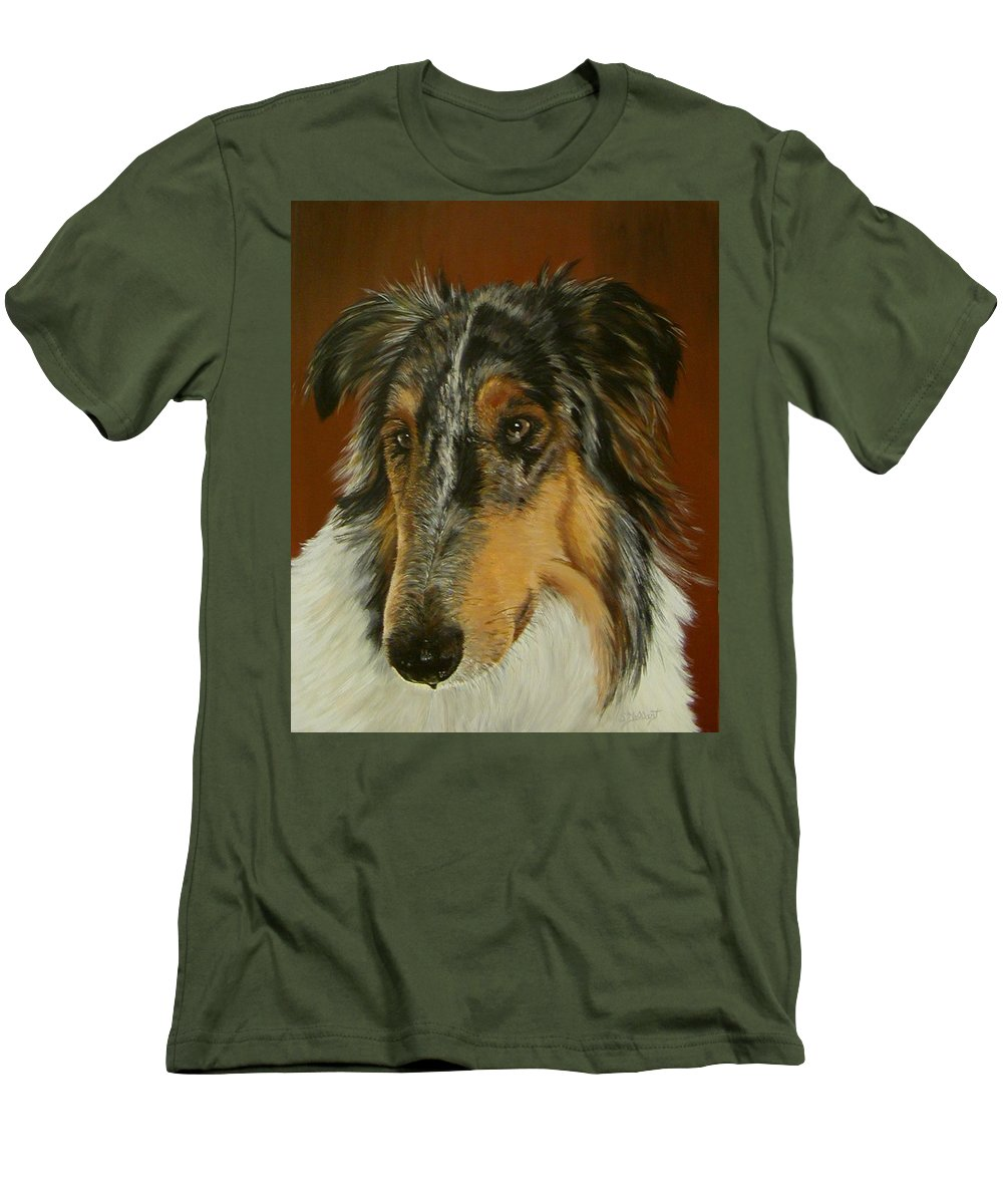 Painting Men's T-Shirt (Athletic Fit) featuring the painting Man's Best Friend by Sheryl Gallant