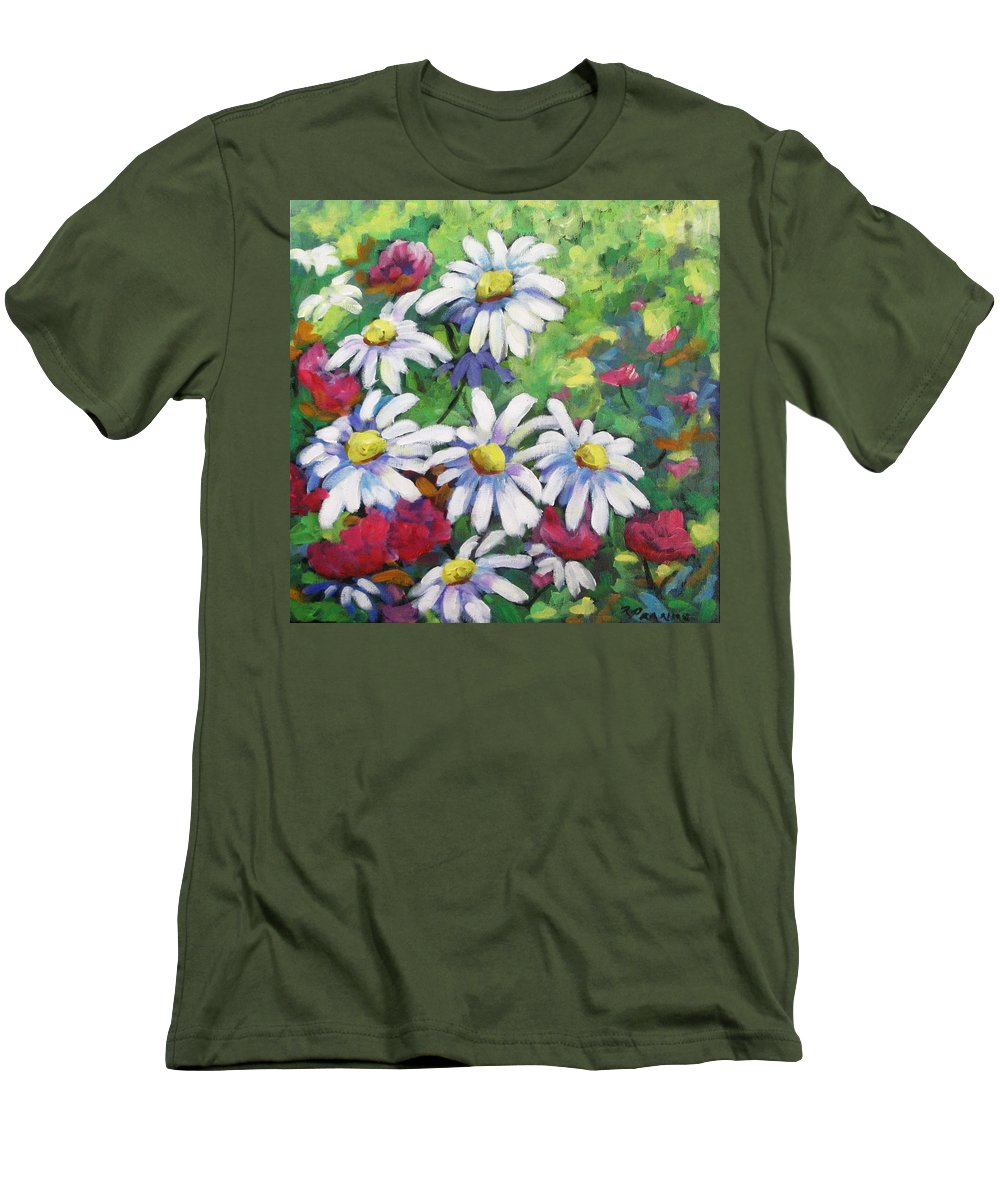 Fleurs Men's T-Shirt (Athletic Fit) featuring the painting Marguerites 001 by Richard T Pranke