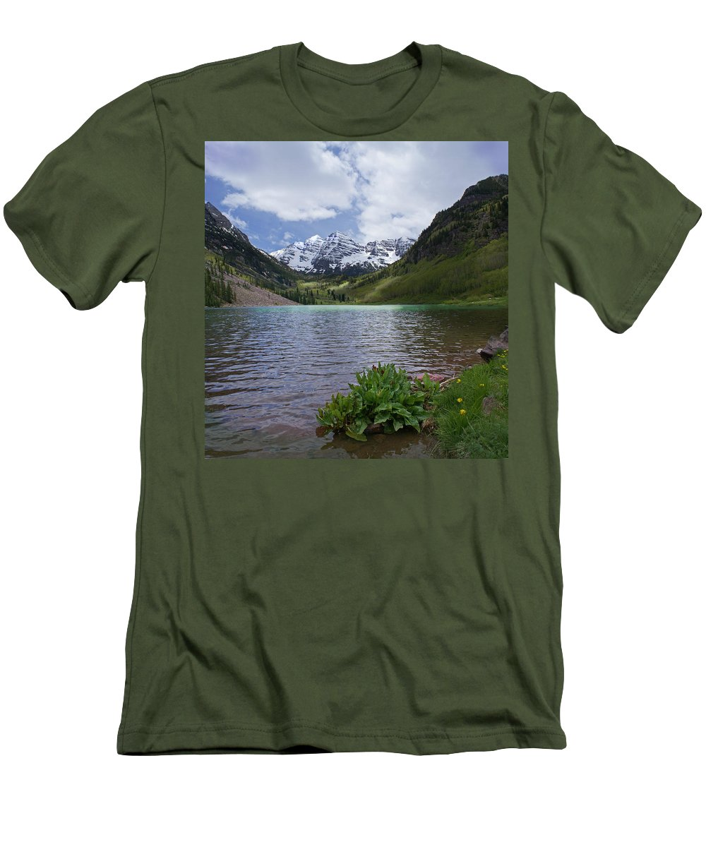 Aspen Men's T-Shirt (Athletic Fit) featuring the photograph Maroon Bells Spring by Heather Coen