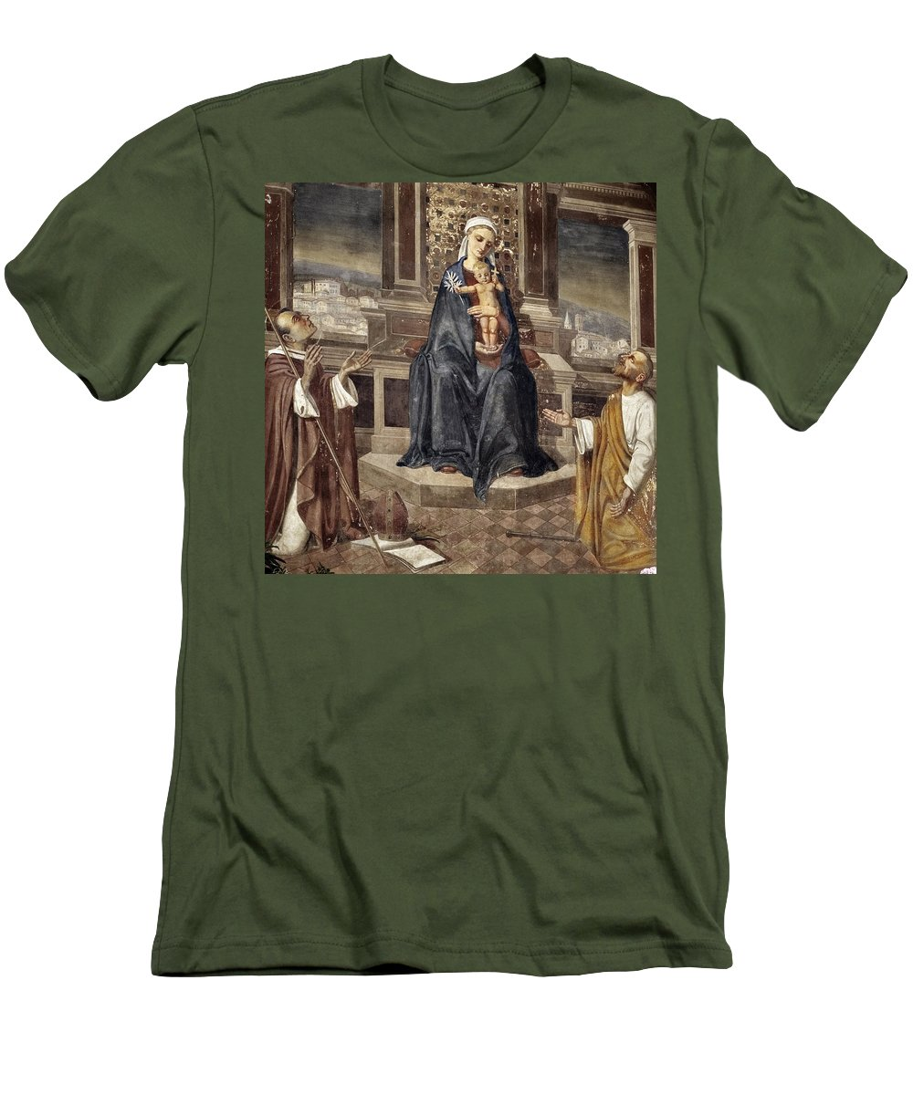 Italy Italian Mary Jesus Men Fresco Religious Religion Paint Painted Old Ancient Catholic Men's T-Shirt (Athletic Fit) featuring the photograph Mary And Baby Jesus by Marilyn Hunt