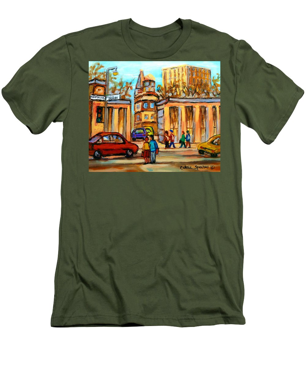 Montreal Cityscapes Men's T-Shirt (Athletic Fit) featuring the painting Mcgill Roddick Gates by Carole Spandau
