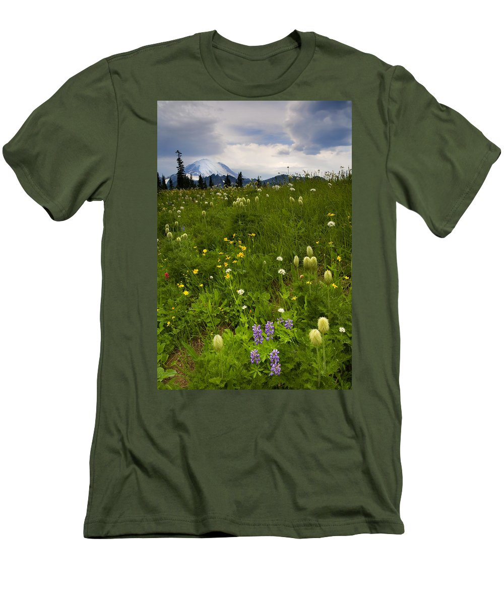 Rainier Men's T-Shirt (Athletic Fit) featuring the photograph Meadow Beneath The Storm by Mike Dawson