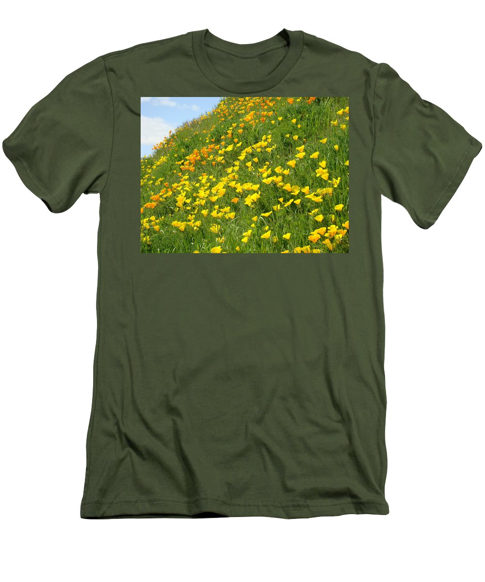 �poppies Artwork� Men's T-Shirt (Athletic Fit) featuring the photograph Meadow Hillside Poppy Flowers 8 Poppies Artwork Gifts by Baslee Troutman