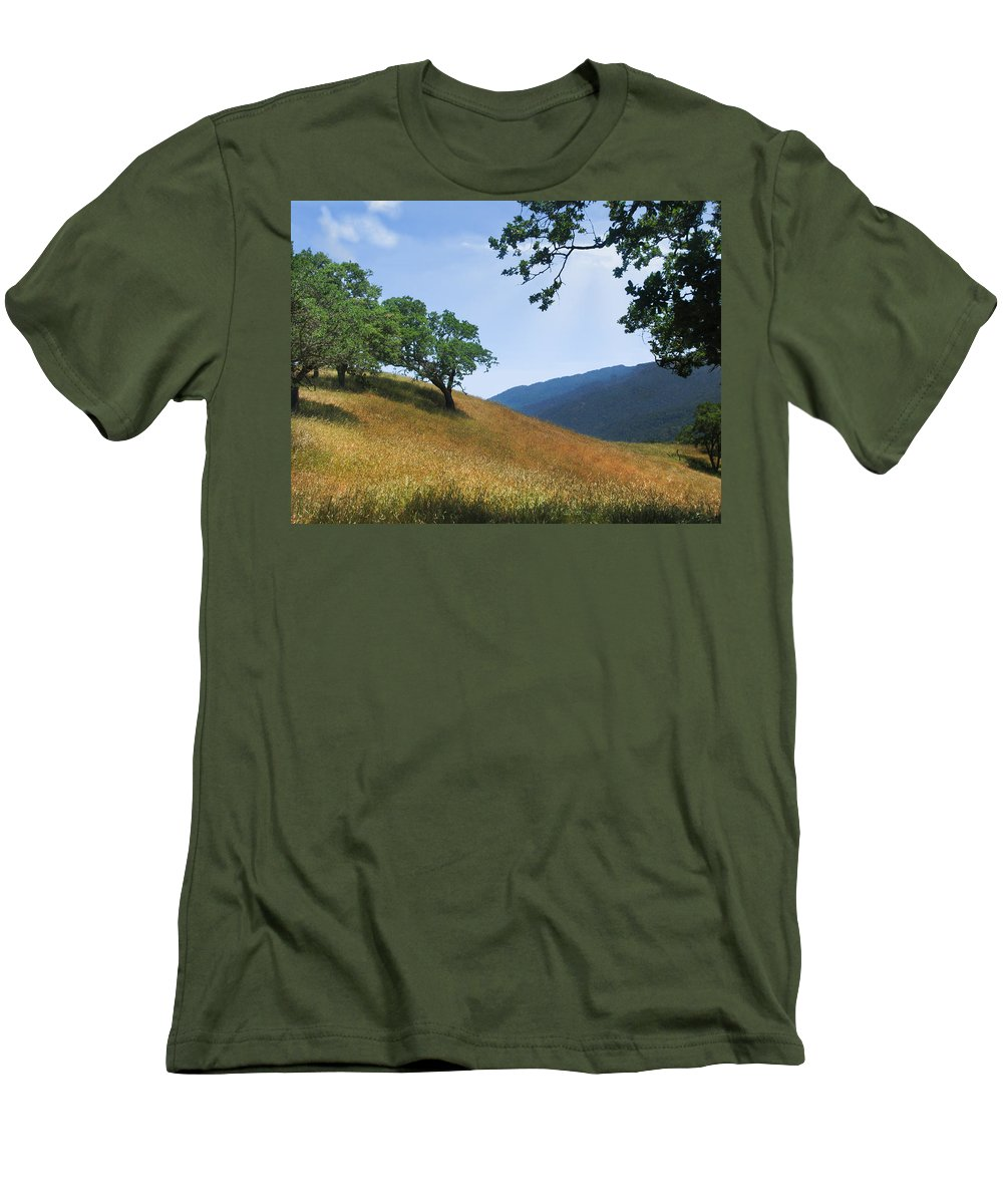 Landscape Men's T-Shirt (Athletic Fit) featuring the photograph Meadow View Summer by Karen W Meyer
