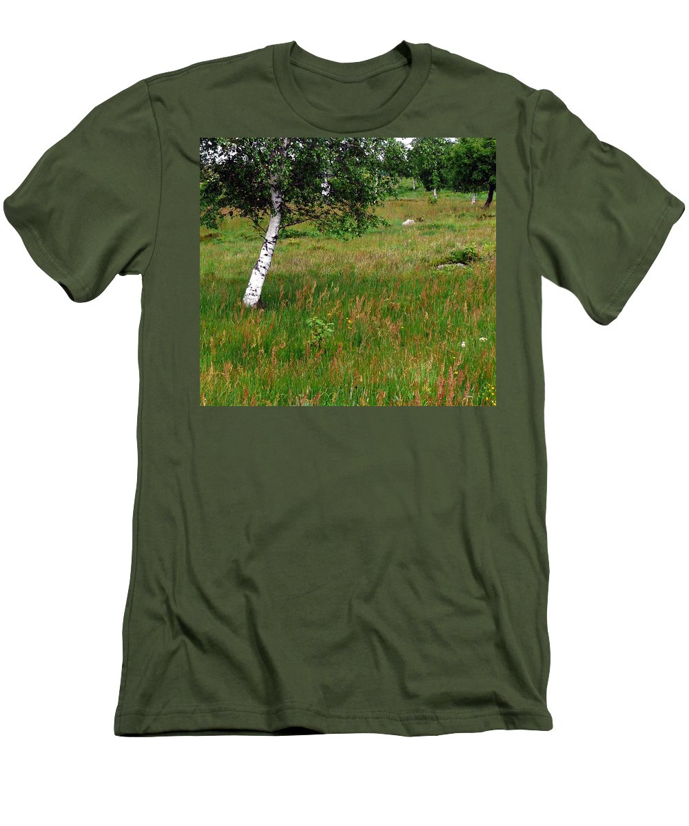 Landscape Men's T-Shirt (Athletic Fit) featuring the photograph Meadow With Birch Trees by Valerie Ornstein