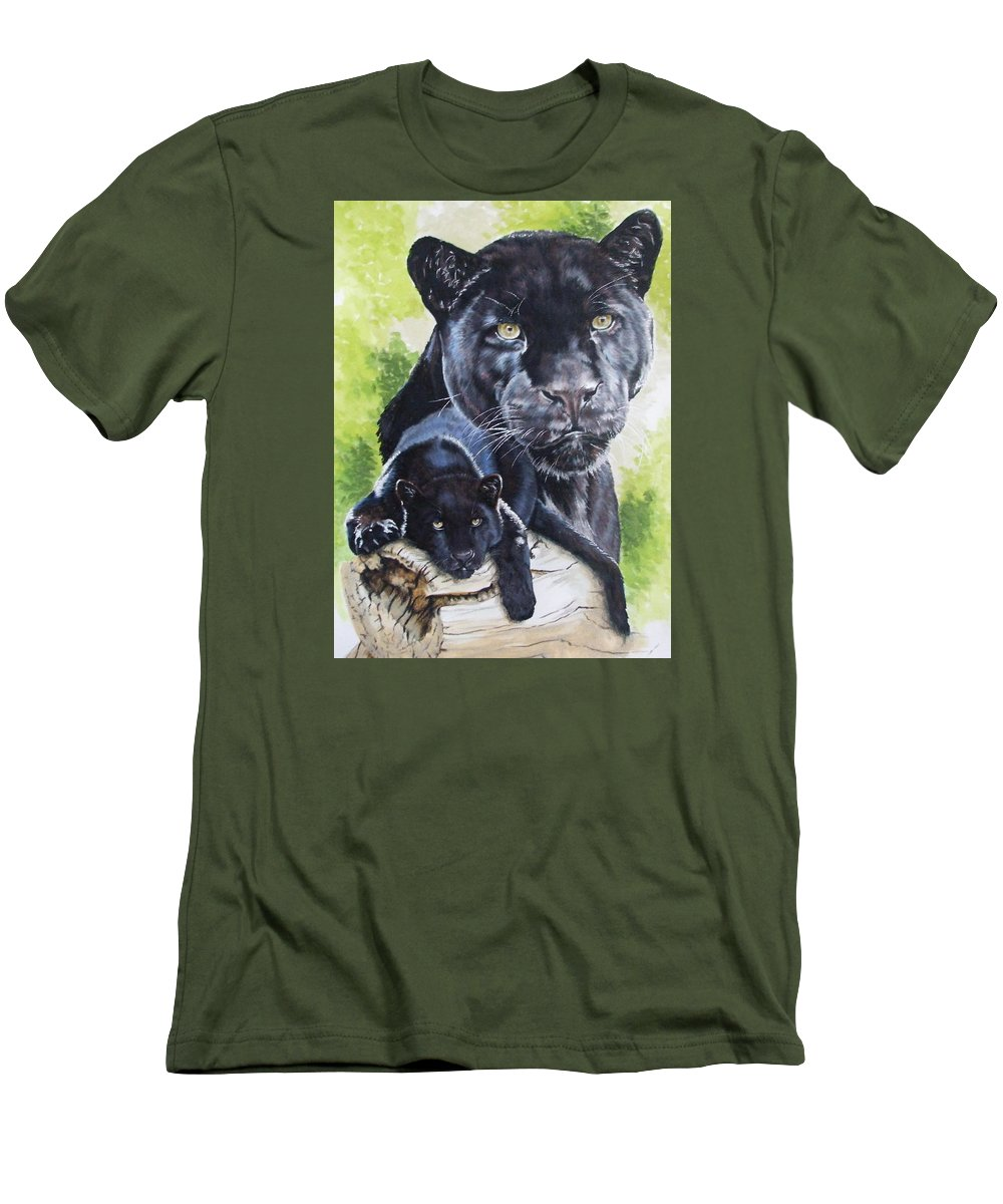 Big Cat Men's T-Shirt (Athletic Fit) featuring the mixed media Melancholy by Barbara Keith