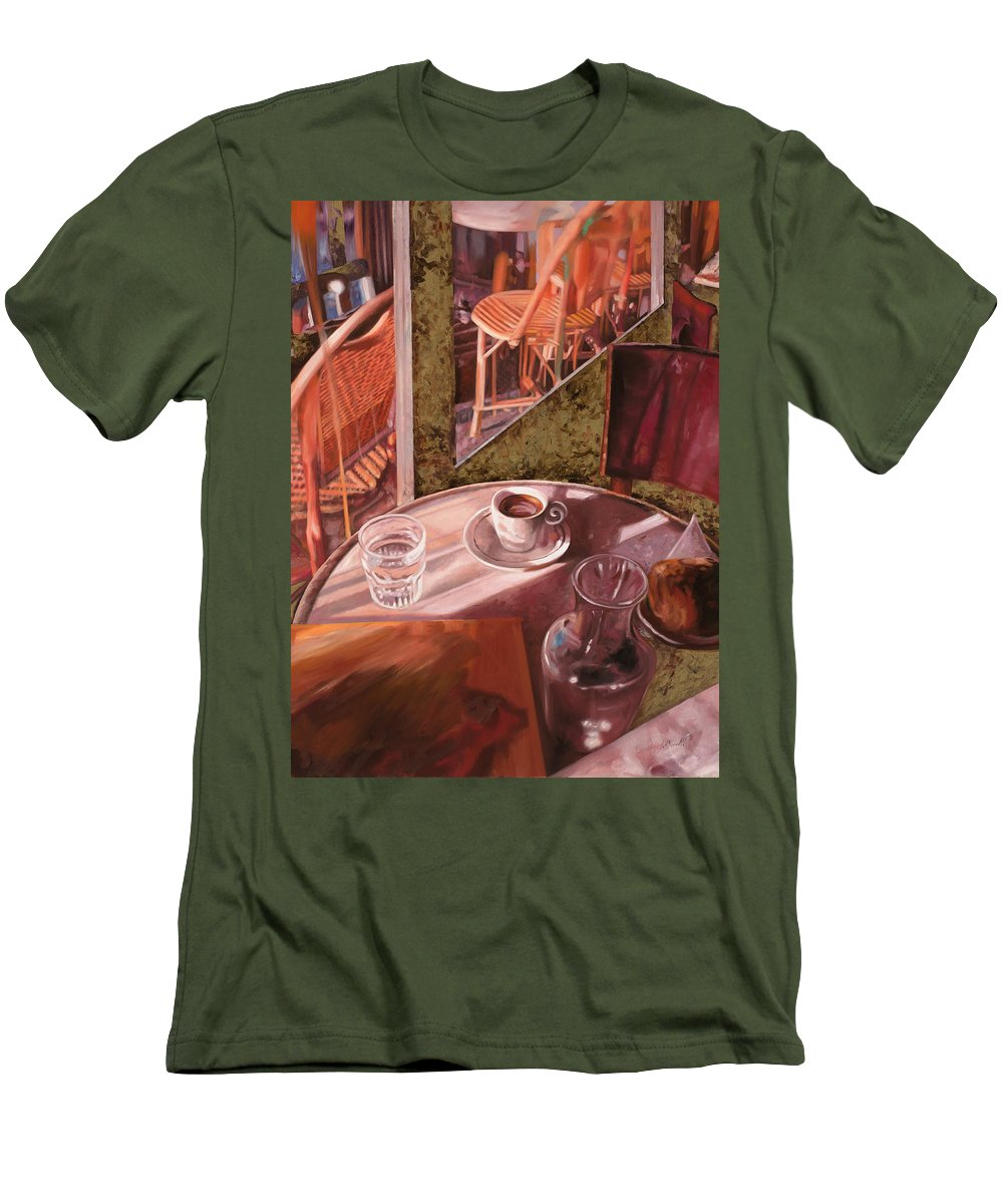 Caffe Men's T-Shirt (Athletic Fit) featuring the painting Mentre Ti Aspetto by Guido Borelli
