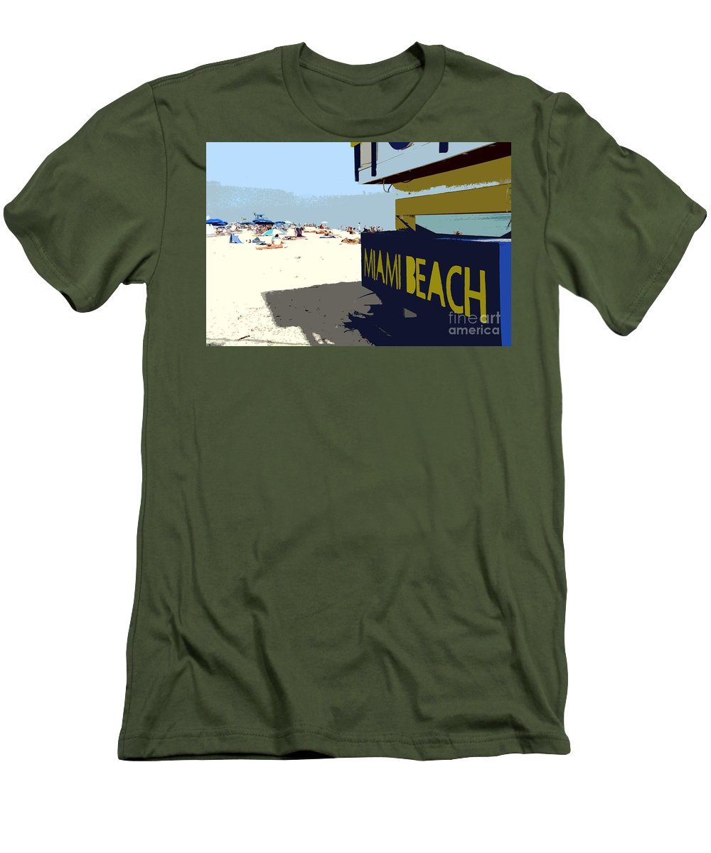 Miami Beach Florida Men's T-Shirt (Athletic Fit) featuring the photograph Miami Beach Work Number 1 by David Lee Thompson