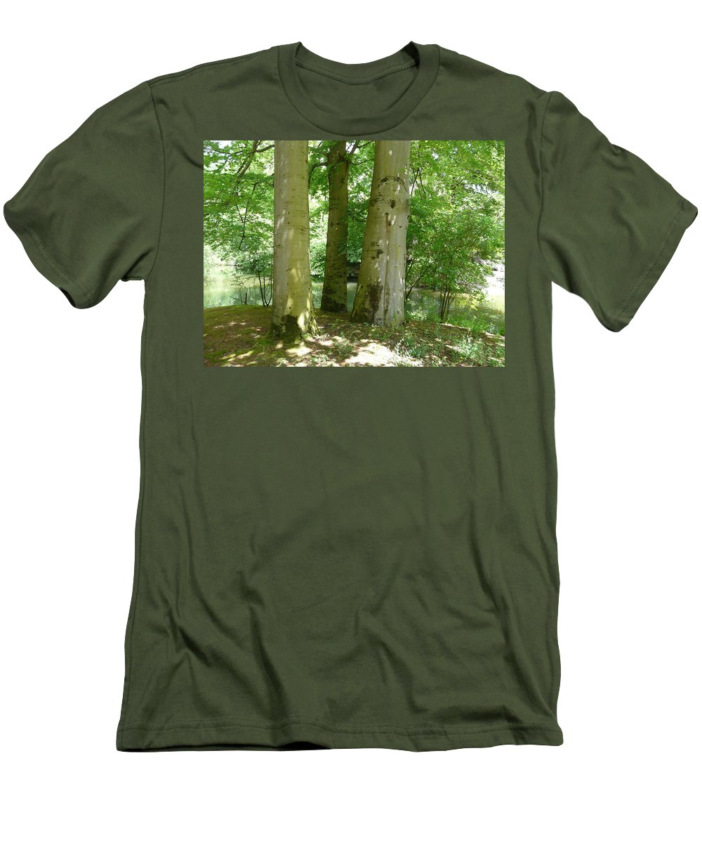 Landscape Men's T-Shirt (Athletic Fit) featuring the photograph Mighty Beech Trees by Valerie Ornstein
