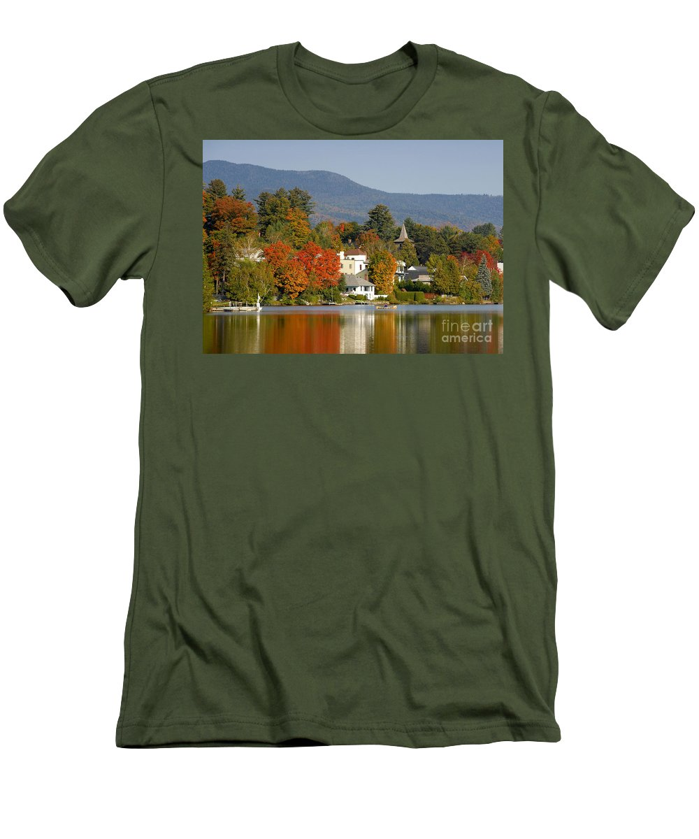 Adirondack Mountains Men's T-Shirt (Athletic Fit) featuring the photograph Mirror Lake by David Lee Thompson