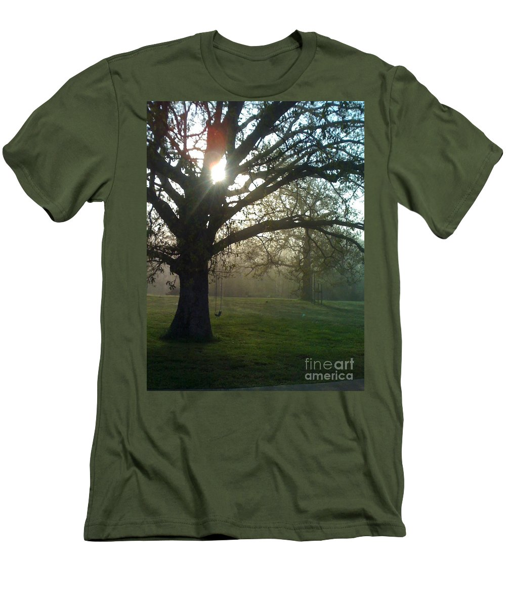 Mist Men's T-Shirt (Athletic Fit) featuring the photograph Misty Morning by Nadine Rippelmeyer