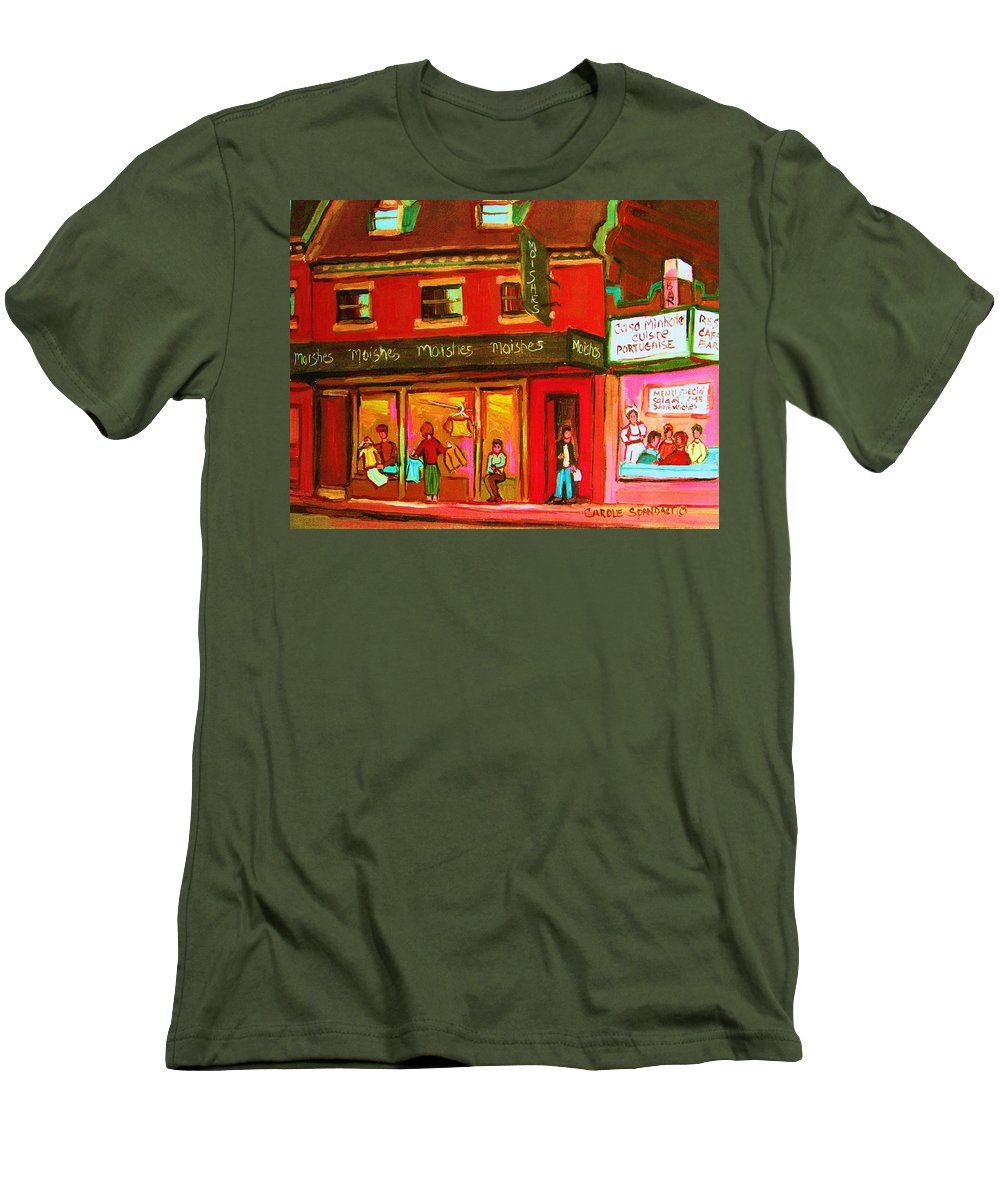 Moishes Men's T-Shirt (Athletic Fit) featuring the painting Moishes Steakhouse On The Main by Carole Spandau