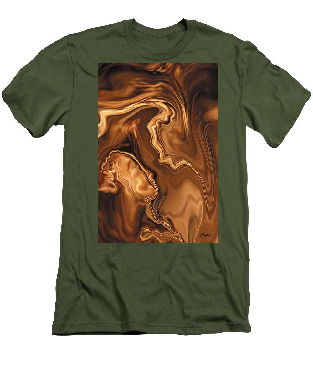 Abstract Adam Art Blue Brown Copper Digital Eve Figurative Khan Kiss Love Night Passion Rabi_khan Se Men's T-Shirt (Athletic Fit) featuring the digital art Moment Before The Kiss by Rabi Khan
