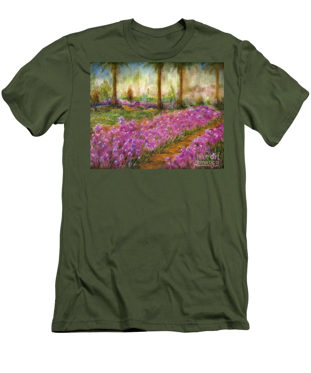 Monet Men's T-Shirt (Athletic Fit) featuring the painting Monet's Garden In Cannes by Jerome Stumphauzer