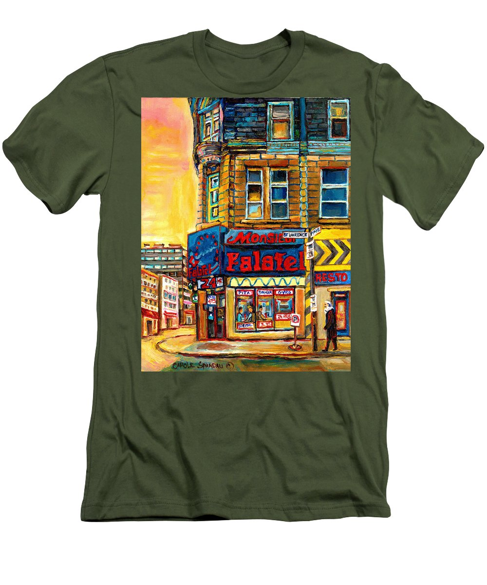 Montreal Men's T-Shirt (Athletic Fit) featuring the painting Monsieur Falafel by Carole Spandau