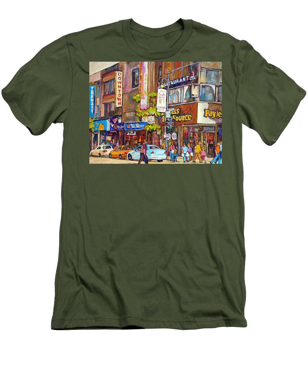 Montreal Men's T-Shirt (Athletic Fit) featuring the painting Montreal St.catherine Street Corner Peel by Carole Spandau