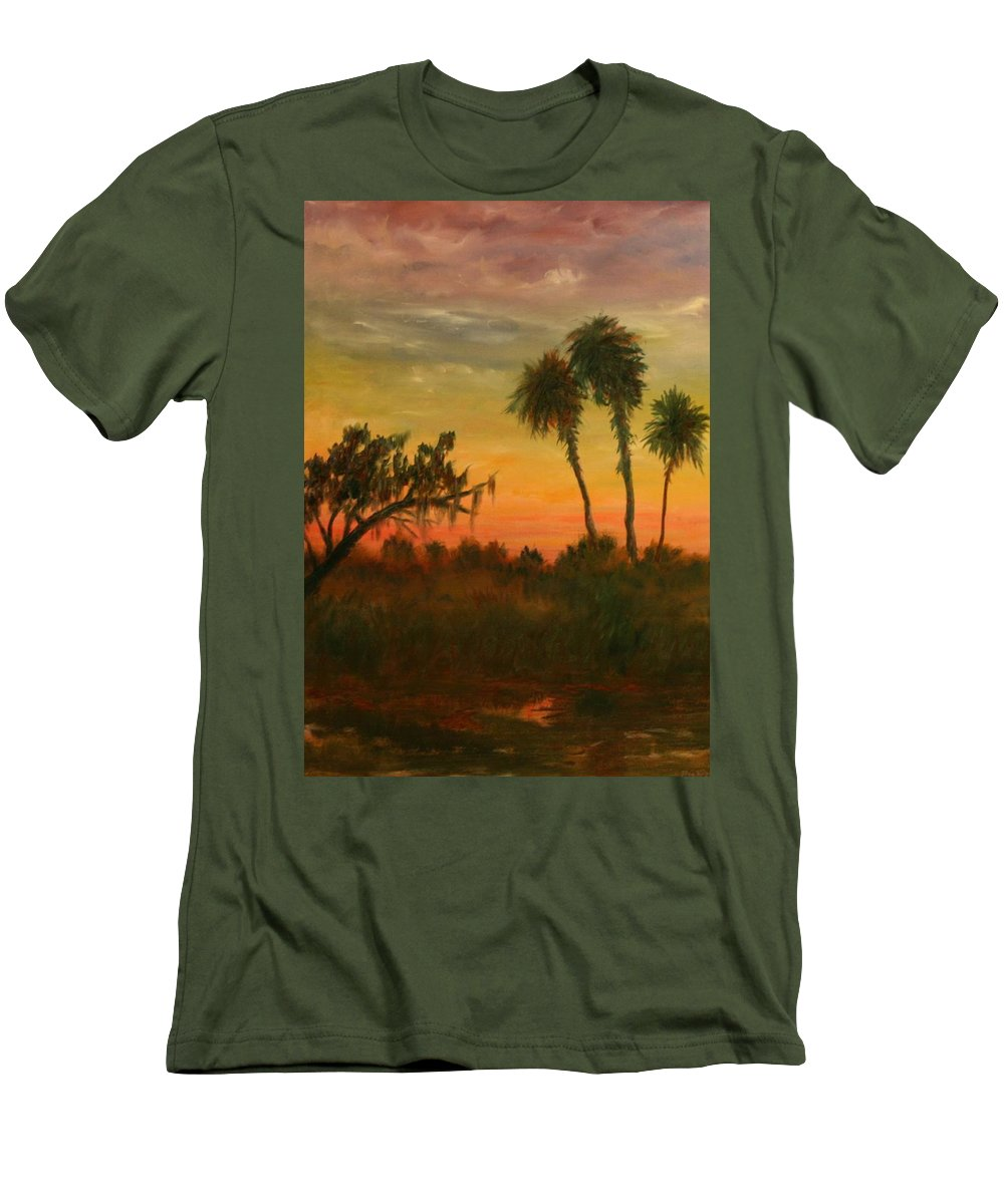 Palm Trees; Tropical; Marsh; Sunrise Men's T-Shirt (Athletic Fit) featuring the painting Morning Fog by Ben Kiger