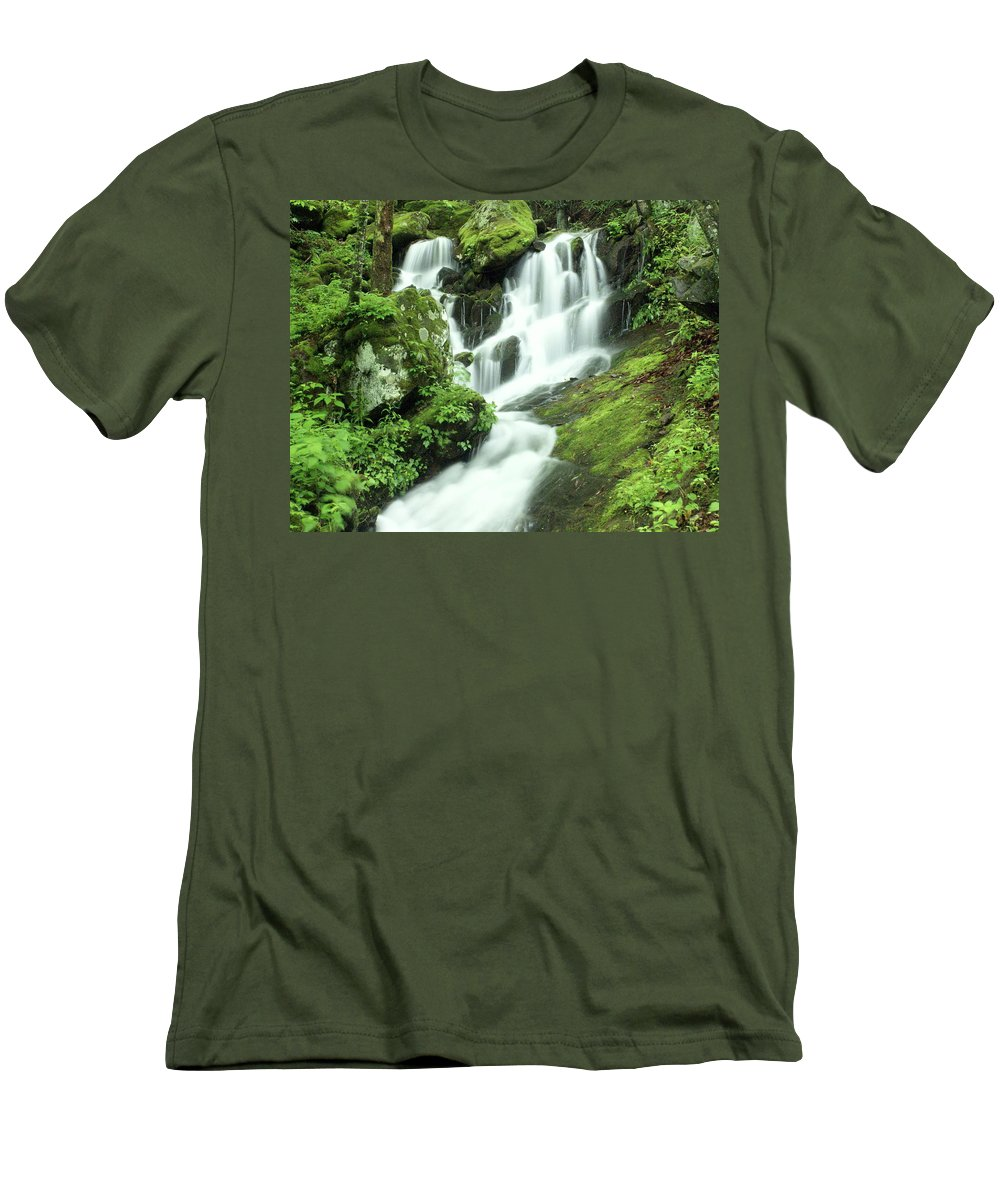 Waterfalls Men's T-Shirt (Athletic Fit) featuring the photograph Mountain Falls by Marty Koch