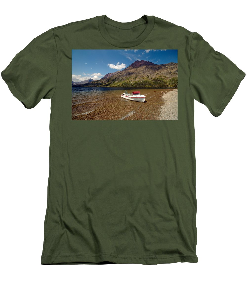 Moutains Men's T-Shirt (Athletic Fit) featuring the photograph Moutain Lake by Sebastian Musial