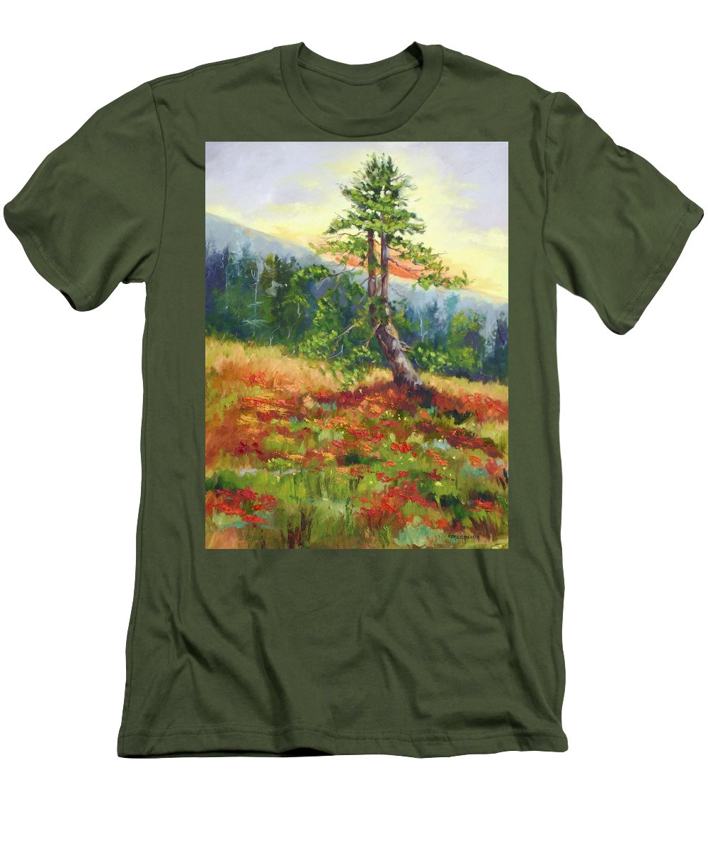 Mt.jumbo Tree Men's T-Shirt (Athletic Fit) featuring the painting Mt. Jumbo Tree Ak by Ginger Concepcion
