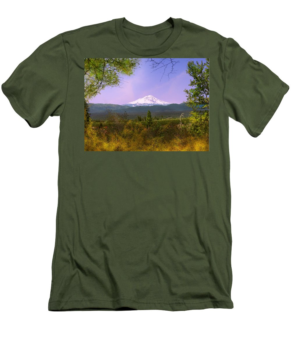 Landscapes Men's T-Shirt (Athletic Fit) featuring the photograph Mt. Shasta by Karen W Meyer