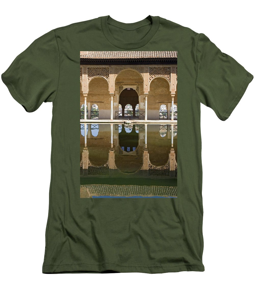 Moorish Men's T-Shirt (Athletic Fit) featuring the photograph Nasrid Palace Arches Reflection At The Alhambra Granada by Mal Bray