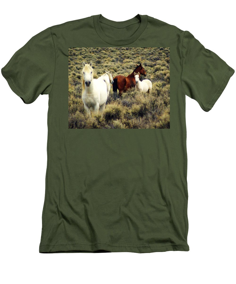Horses Men's T-Shirt (Athletic Fit) featuring the photograph Nevada Wild Horses by Marty Koch