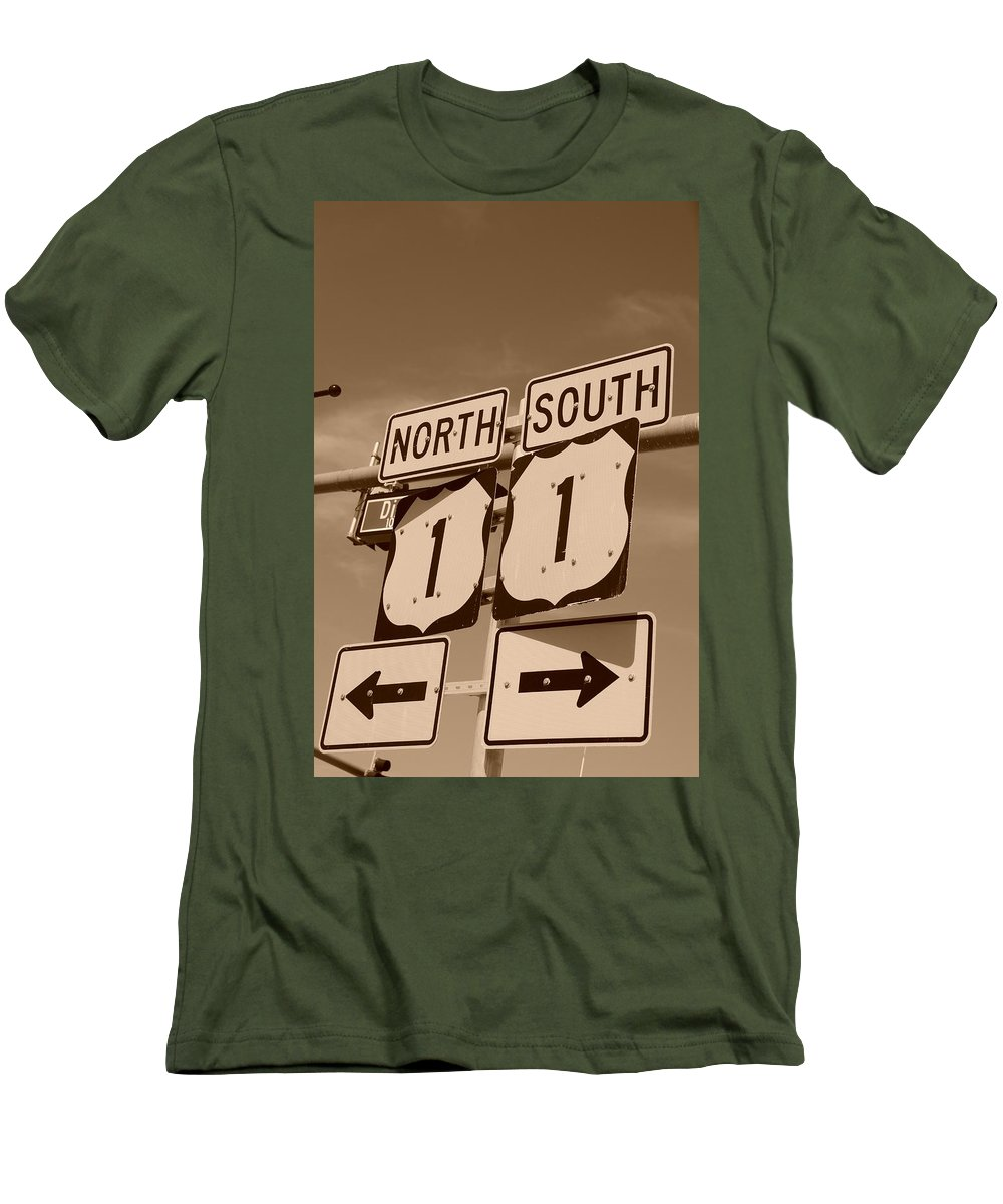 Sepia Men's T-Shirt (Athletic Fit) featuring the photograph North South 1 by Rob Hans