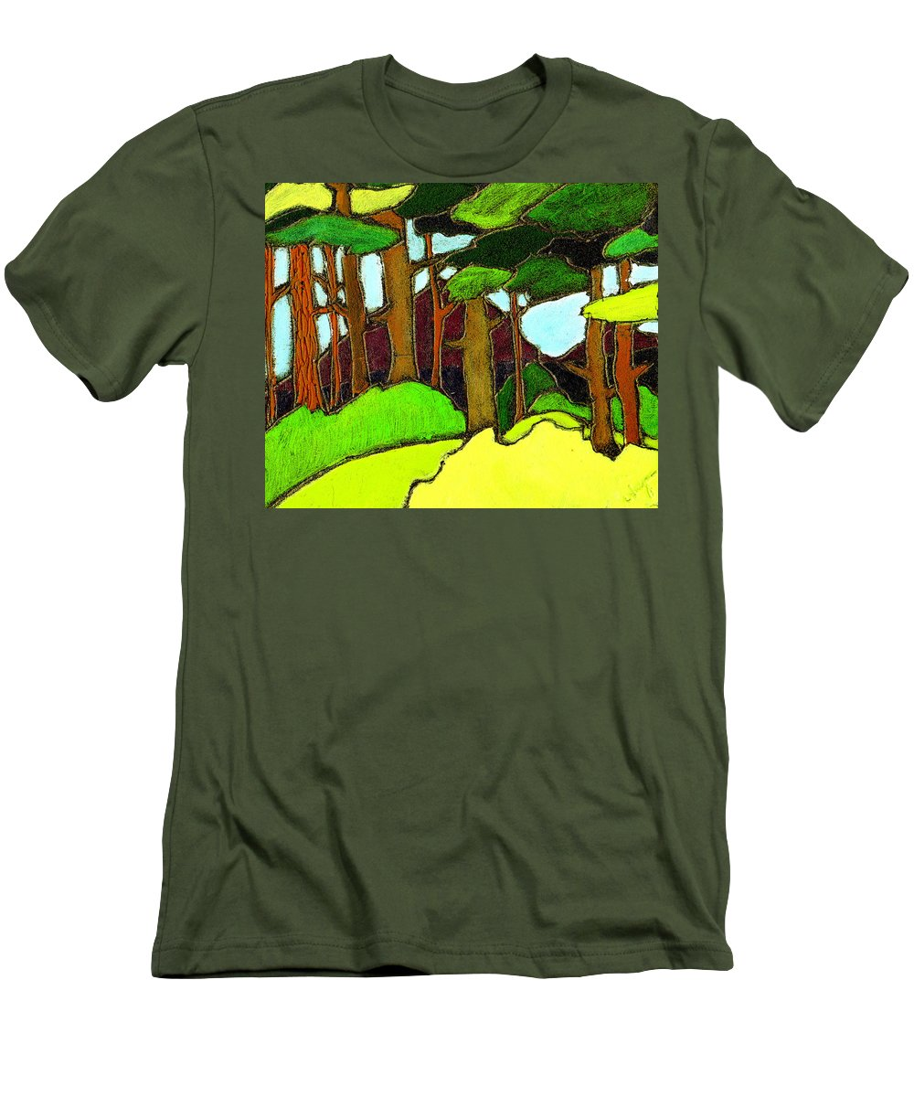 Trees Men's T-Shirt (Athletic Fit) featuring the painting Northern Pathway by Wayne Potrafka