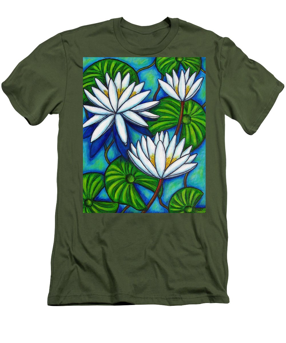 Lily Men's T-Shirt (Athletic Fit) featuring the painting Nymphaea Blue by Lisa Lorenz