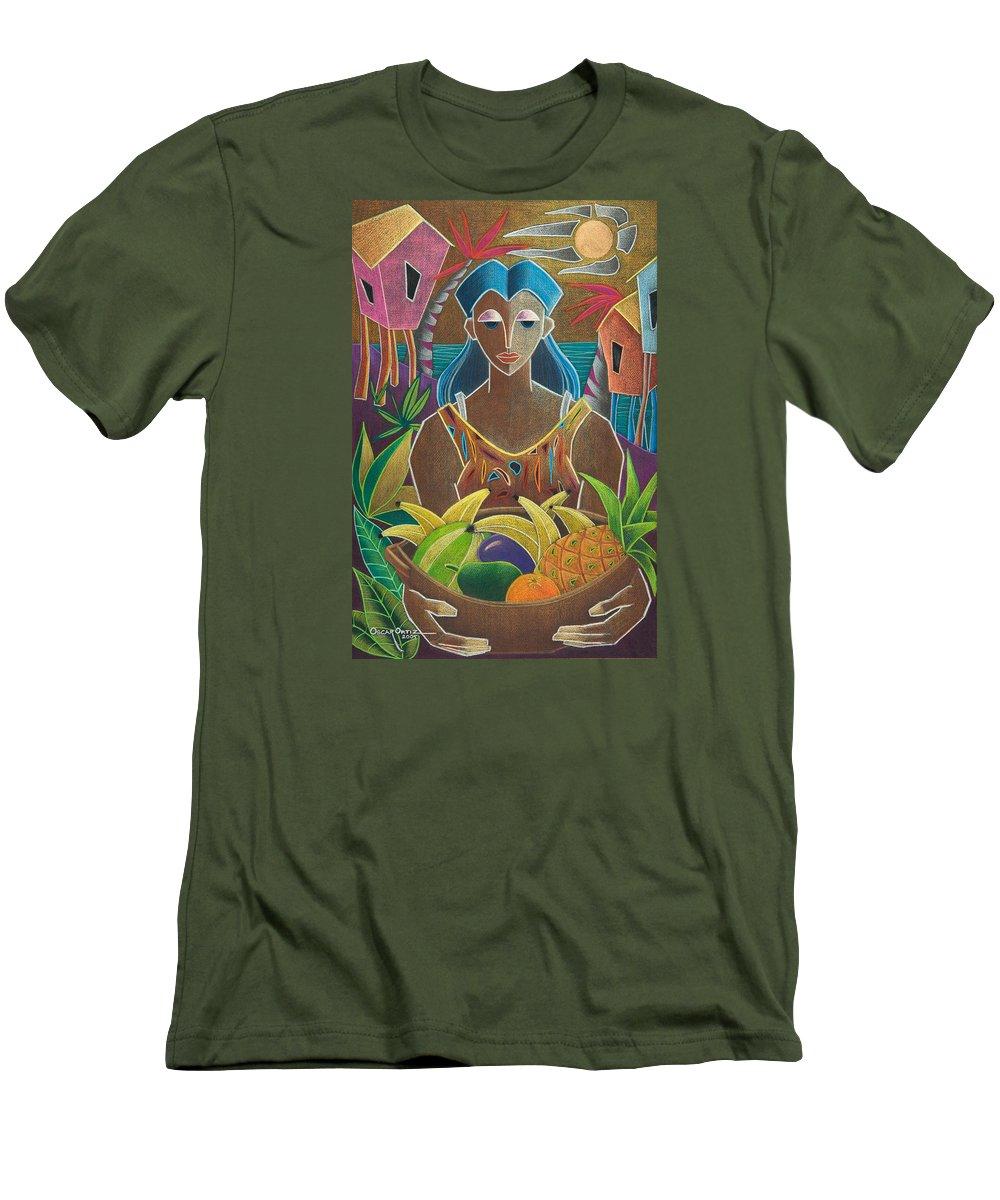 Female Men's T-Shirt (Athletic Fit) featuring the painting Ofrendas De Mi Tierra by Oscar Ortiz