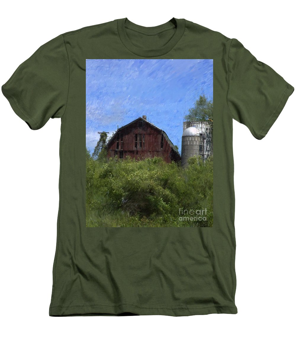 Old Barn Men's T-Shirt (Athletic Fit) featuring the photograph Old Barn On Summer Hill by David Lane