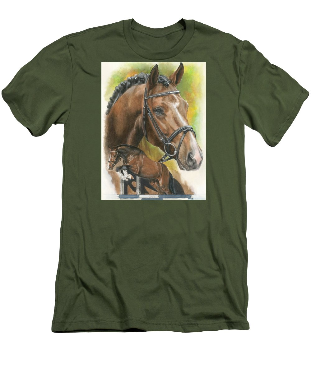 Hunter Jumper Men's T-Shirt (Athletic Fit) featuring the mixed media Oldenberg by Barbara Keith